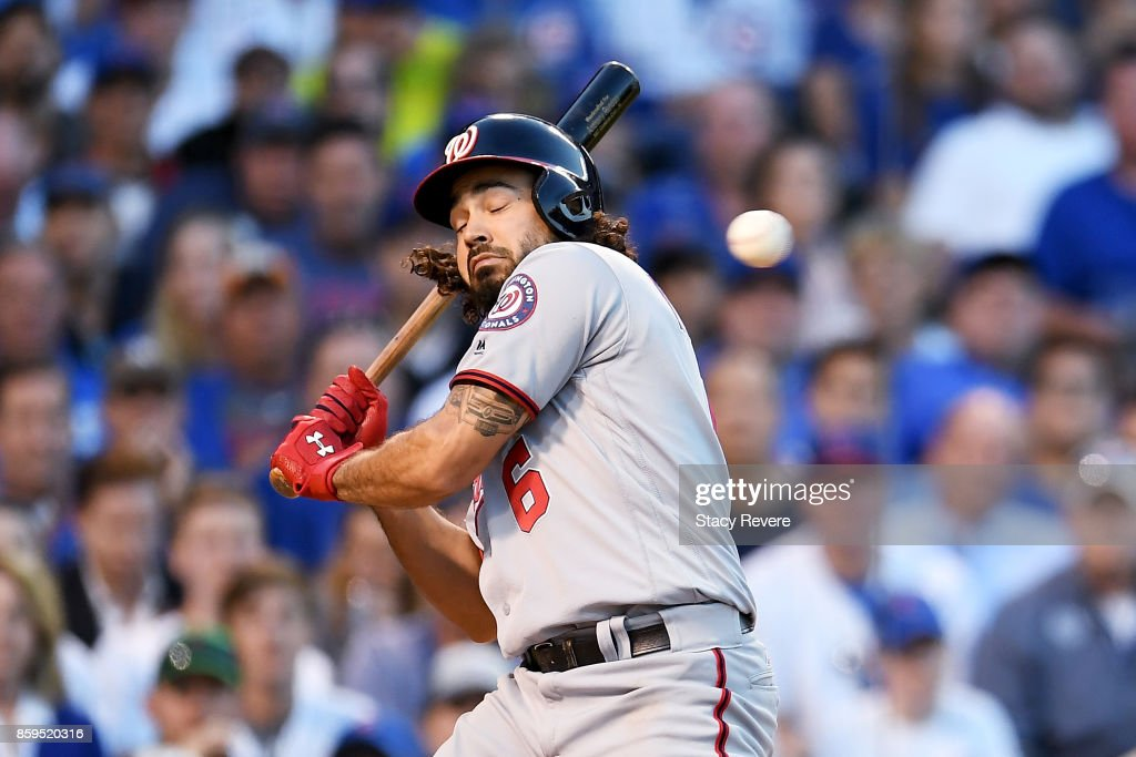 Anthony Rendon #6 of the Washington Nationals ducks to avoid being hit by a pitch in the eighth inning against the Chicago Cubs during game three of the National League Division Series at Wrigley Field on October 9, 2017 in Chicago, Illinois.