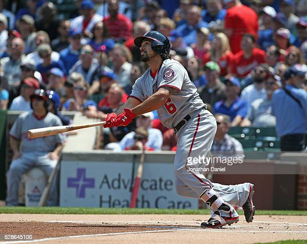 Anthony Rendon of the Washington Nationals follows the flight of his first inning solo home run against the Chicago Cubs at Wrigley Field on May 6...
