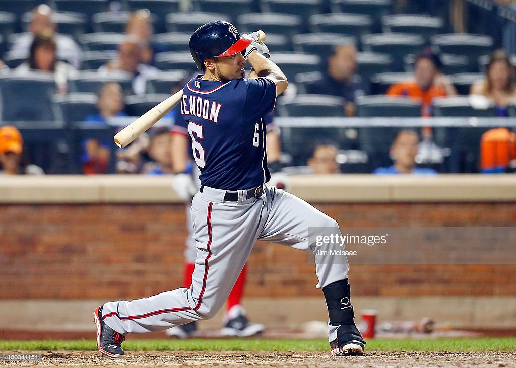 <a gi-track='captionPersonalityLinkClicked' href=/galleries/search?phrase=Anthony+Rendon&family=editorial&specificpeople=7539238 ng-click='$event.stopPropagation()'>Anthony Rendon</a> #6 of the Washington Nationals follows through on an eighth inning two-run double against the New York Mets at Citi Field on September 11, 2013 in the Flushing neighborhood of the Queens borough of New York City.