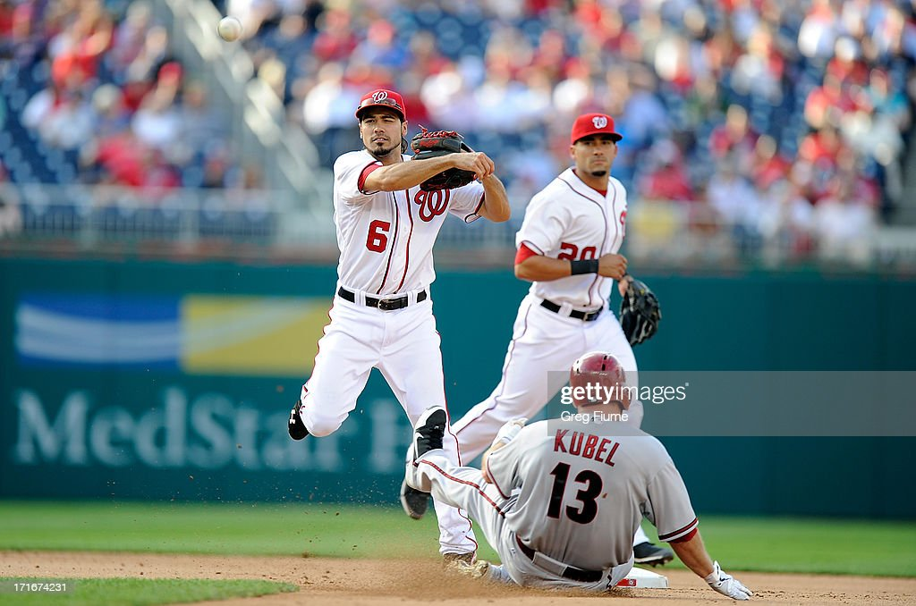 Anthony Rendon #6 of the Washington Nationals forces out <a gi-track='captionPersonalityLinkClicked' href=/galleries/search?phrase=Jason+Kubel&family=editorial&specificpeople=575883 ng-click='$event.stopPropagation()'>Jason Kubel</a> #13 of the Arizona Diamondbacks to start a double play in the fifth inning at Nationals Park on June 27, 2013 in Washington, DC.