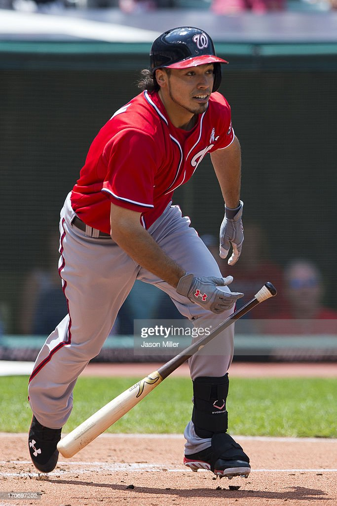 Anthony Rendon #6 of the Washington Nationals hits a single during the fourth inning against the Cleveland Indians at Progressive Field on June 16, 2013 in Cleveland, Ohio.