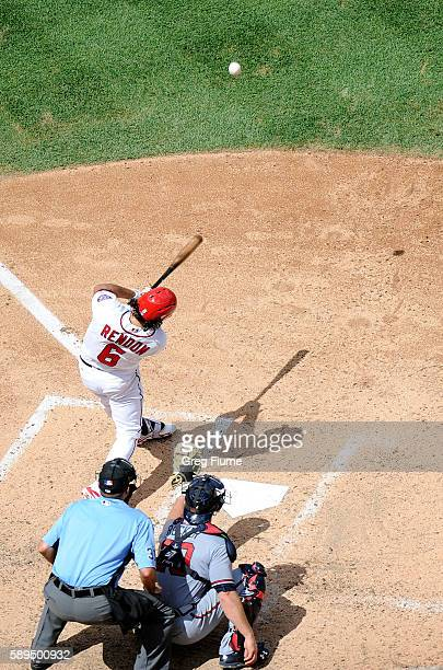 Anthony Rendon of the Washington Nationals hits a threerun home run in the fifth inning against the Atlanta Braves at Nationals Park on August 14...