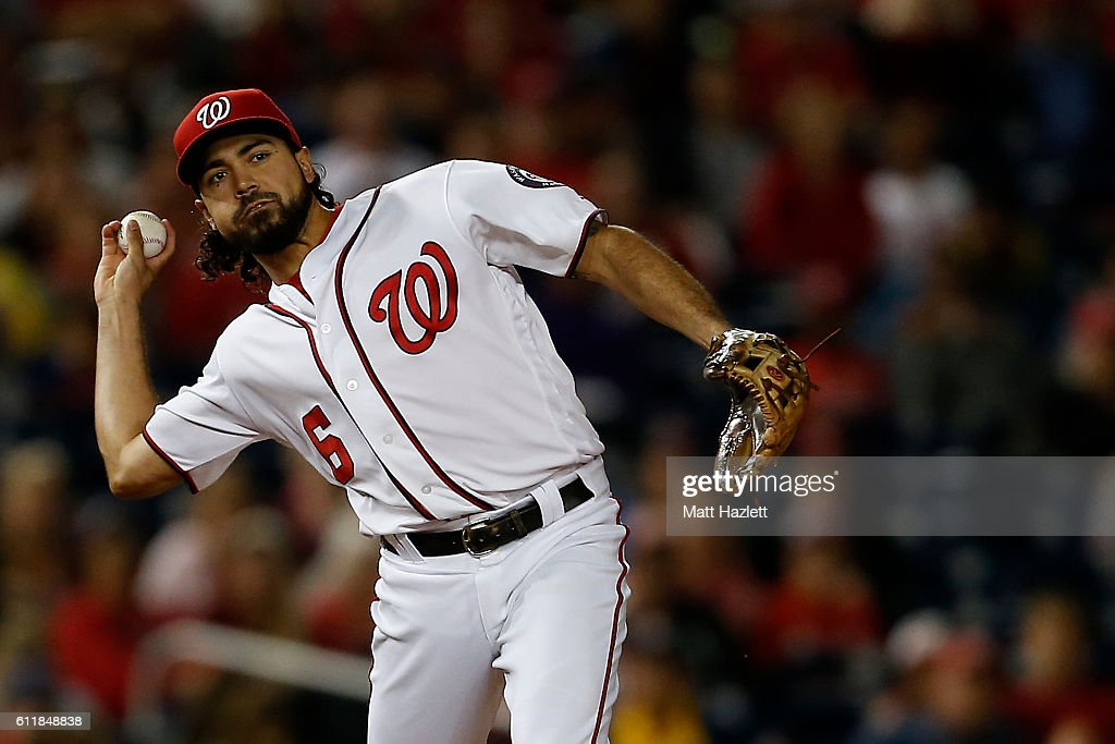 Anthony Rendon #6 of the Washington Nationals makes a throw to first base for the second out of the ninth inning against the Miami Marlins at Nationals Park on October 1, 2016 in Washington, DC.