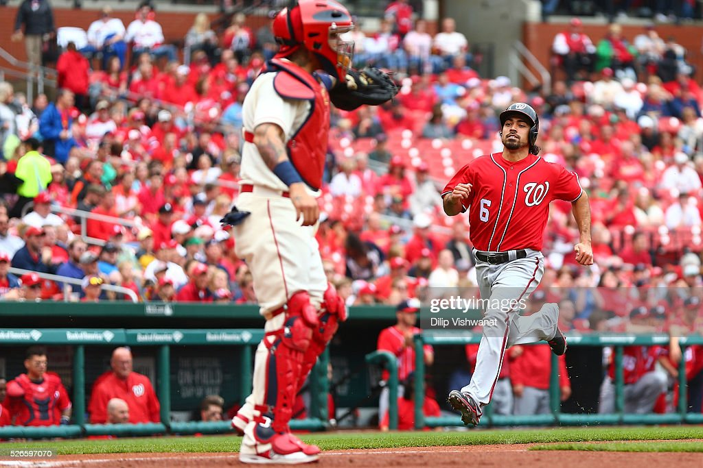 <a gi-track='captionPersonalityLinkClicked' href=/galleries/search?phrase=Anthony+Rendon&family=editorial&specificpeople=7539238 ng-click='$event.stopPropagation()'>Anthony Rendon</a> #6 of the Washington Nationals on his way to scoring a run against the St. Louis Cardinals in the first inning at Busch Stadium on April 30, 2016 in St. Louis, Missouri.