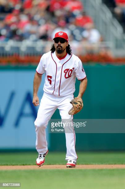 Anthony Rendon of the Washington Nationals plays third base against the Los Angeles Angels at Nationals Park on August 16 2017 in Washington DC