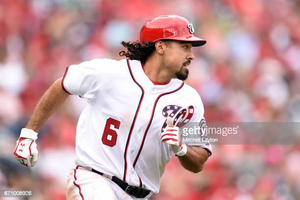 Anthony Rendon of the Washington Nationals runs to first base during the game against the Philadelphia Phillies at Nationals Park on April 16 2017 in...