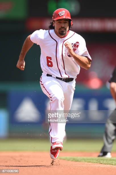 Anthony Rendon of the Washington Nationals runs to third base during the game against the Philadelphia Phillies at Nationals Park on April 16 2017 in...