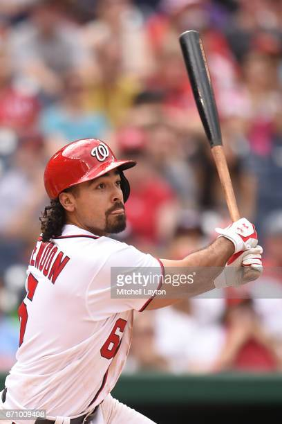 Anthony Rendon of the Washington Nationals takes a swing during the game against the Philadelphia Phillies at Nationals Park on April 16 2017 in...