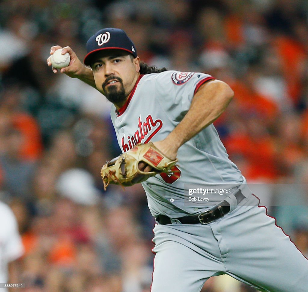 Anthony Rendon #6 of the Washington Nationals throws out Marwin Gonzalez #9 of the Houston Astros in the fourth inning at Minute Maid Park on August 23, 2017 in Houston, Texas.