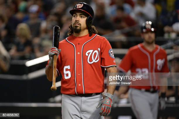 Anthony Rendon of the Washington Nationals wearing Under Armour batting gloves walks up to the plate against the Arizona Diamondbacks at Chase Field...