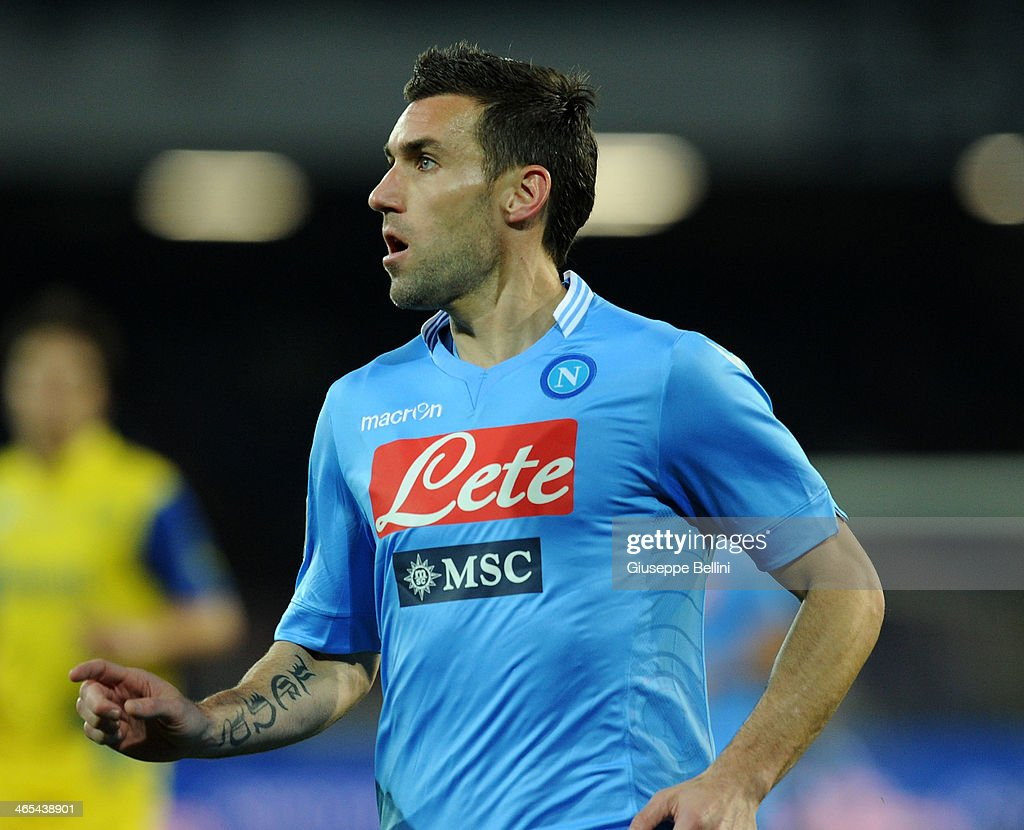 <a gi-track='captionPersonalityLinkClicked' href=/galleries/search?phrase=Anthony+Reveillere&family=editorial&specificpeople=221020 ng-click='$event.stopPropagation()'>Anthony Reveillere</a> of Napoli during the Serie A match between SSC Napoli and AC Chievo Verona at Stadio San Paolo on January 25, 2014 in Naples, Italy.