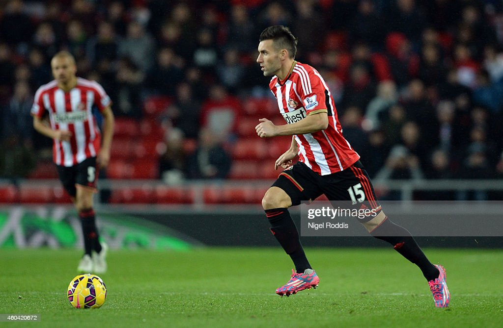 Anthony Reveillere of Sunderland during the Premier League Football match between Sunderland and West Ham United at Stadium of Light on December 13, 2014 in Sunderland, England.