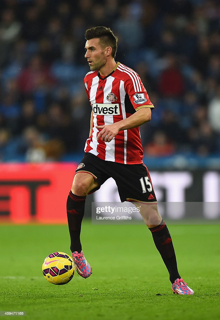 Anthony Reveillere of Sunderland in action during the Barclays Premier League match between Leicester City and Sunderland at The King Power Stadium on November 22, 2014 in Leicester, England.