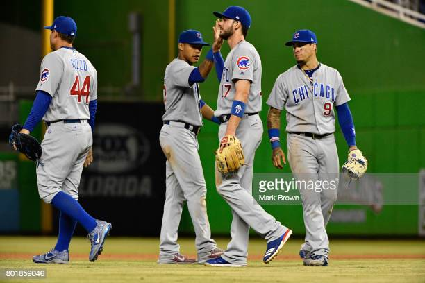 Anthony Rizzo Addison Russell Kris Bryant and Javier Baez of the Chicago Cubs in action during the game between the Miami Marlins and the Chicago...