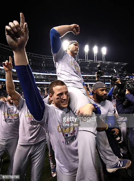 Anthony Rizzo David Ross and Jason Heyward of the Chicago Cubs celebrate after defeating the Cleveland Indians 87 in Game Seven of the 2016 World...