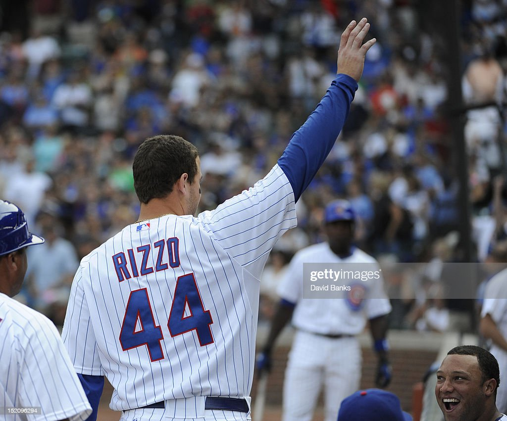 <a gi-track='captionPersonalityLinkClicked' href=/galleries/search?phrase=Anthony+Rizzo&family=editorial&specificpeople=7551494 ng-click='$event.stopPropagation()'>Anthony Rizzo</a> #44 of the Chicago Cubs acknowledges the crowd after hitting a grand slam home run against the Pittsburgh Pirates in the sixth inning on September 16, 2012 at Wrigley Field in Chicago, Illinois.