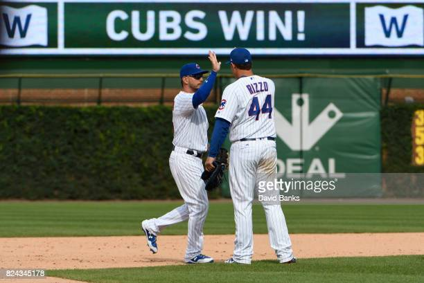 Anthony Rizzo of the Chicago Cubs and Albert Almora Jr #5 celebrate their win on July 25 2017 at Wrigley Field in Chicago Illinois The Cubs defeated...