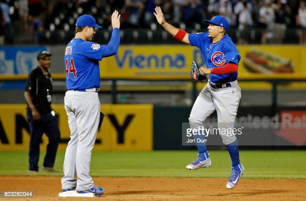 Anthony Rizzo of the Chicago Cubs and Jon Jay celebrate their win over the Chicago White Sox at Guaranteed Rate Field on July 26 2017 in Chicago...