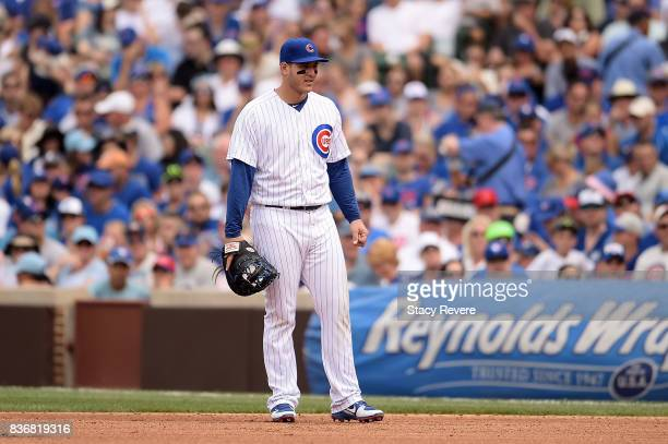 Anthony Rizzo of the Chicago Cubs anticipates a pitch during a game against the Toronto Blue Jays at Wrigley Field on August 20 2017 in Chicago...