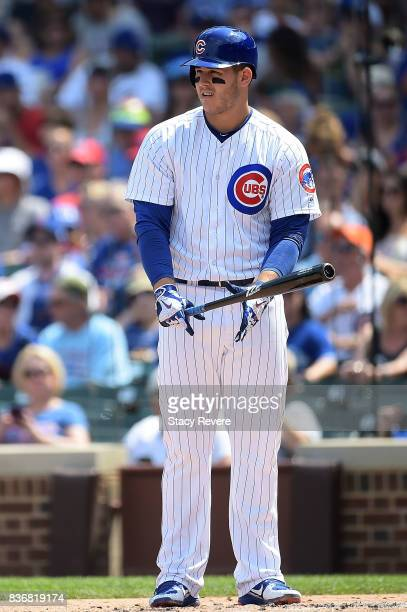Anthony Rizzo of the Chicago Cubs at bat during a game against the Toronto Blue Jays at Wrigley Field on August 20 2017 in Chicago Illinois The Cubs...