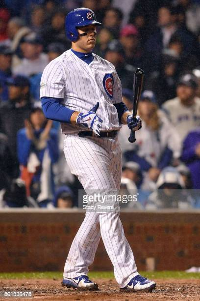 Anthony Rizzo of the Chicago Cubs at bat during game four of the National League Division Series against the Washington Nationals at Wrigley Field on...