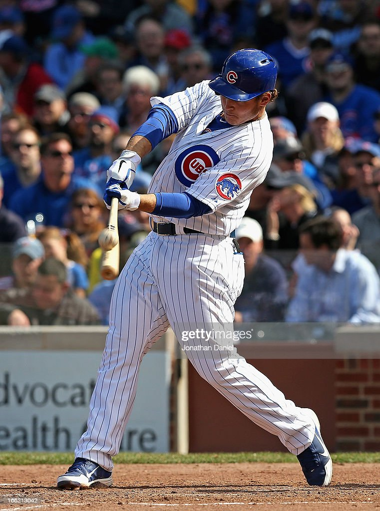 <a gi-track='captionPersonalityLinkClicked' href=/galleries/search?phrase=Anthony+Rizzo&family=editorial&specificpeople=7551494 ng-click='$event.stopPropagation()'>Anthony Rizzo</a> #44 of the Chicago Cubs bats against the Milwaukee Brewers during the Opening Day game at Wrigley Field on April 8, 2013 in Chicago, Illinois. The Brewers defeated the Cubs 7-4.