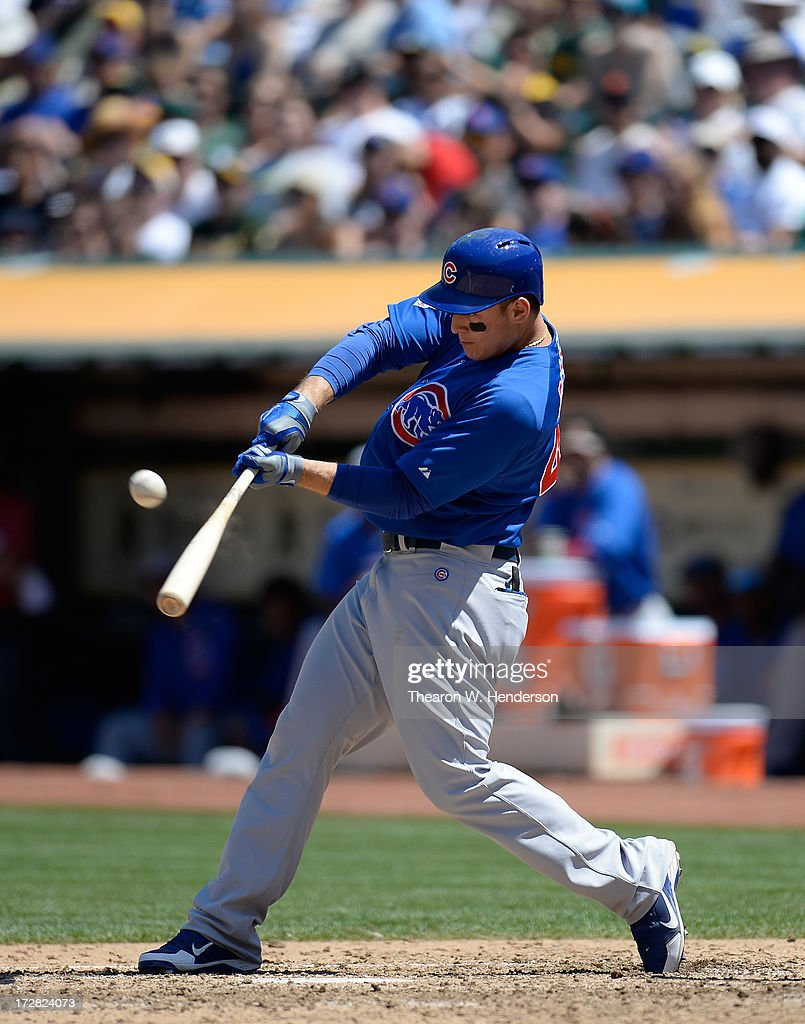Anthony Rizzo #44 of the Chicago Cubs bats against the Oakland Athletics at O.co Coliseum on July 4, 2013 in Oakland, California.