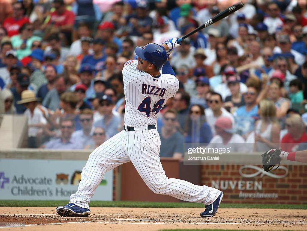 <a gi-track='captionPersonalityLinkClicked' href=/galleries/search?phrase=Anthony+Rizzo&family=editorial&specificpeople=7551494 ng-click='$event.stopPropagation()'>Anthony Rizzo</a> #44 of the Chicago Cubs bats against the Phiuladelphia Phillies at Wrigley Field on July 24, 2015 in Chicago, Illinois. The Phillies defeated the Cubs 5-3 in 10 innings.