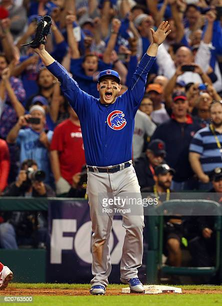 Anthony Rizzo of the Chicago Cubs celebrates after catching the final out to defeat the Cleveland Indians in Game 7 of the 2016 World Series...