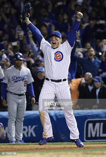 Anthony Rizzo of the Chicago Cubs celebrates after defeating the Los Angeles Dodgers 50 in game six of the National League Championship Series to...