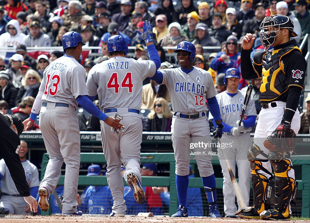 <a gi-track='captionPersonalityLinkClicked' href=/galleries/search?phrase=Anthony+Rizzo&family=editorial&specificpeople=7551494 ng-click='$event.stopPropagation()'>Anthony Rizzo</a> #44 of the Chicago Cubs celebrates after hitting a two run home run in the first inning against the Pittsburgh Pirates during opening day on April 1, 2013 at PNC Park in Pittsburgh, Pennsylvania.