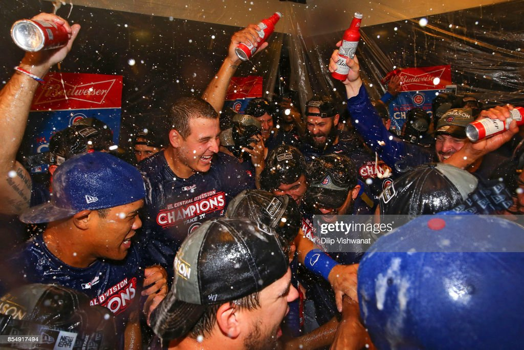 Anthony Rizzo #44 of the Chicago Cubs celebrates after winning the National League Central title against the St. Louis Cardinals at Busch Stadium on September 27, 2017 in St. Louis, Missouri.