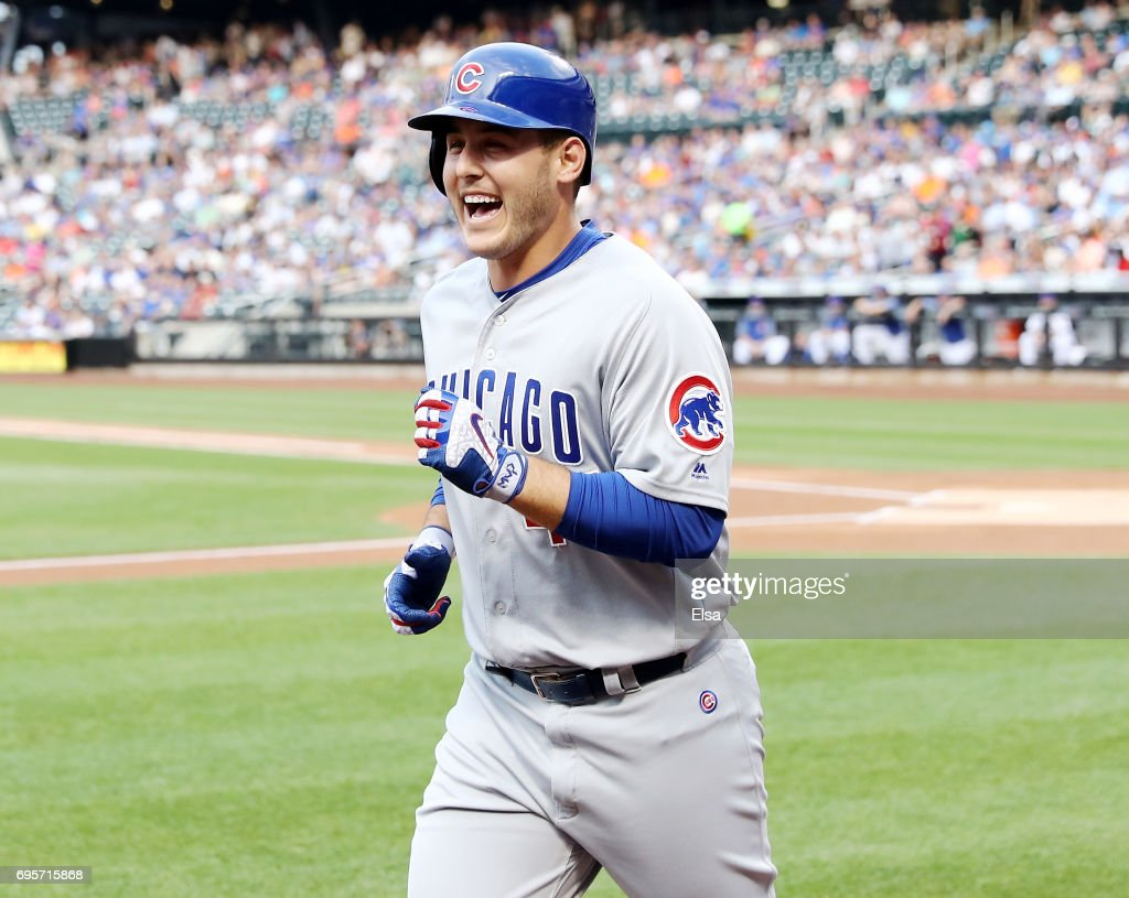 Anthony Rizzo #44 of the Chicago Cubs celebrates as he heads for the dugout in the first inning against the New York Mets on June 13, 2017 at Citi Field in the Flushing neighborhood of the Queens borough of New York City.Anthony Rizzo hit a solo home run in hte inning.