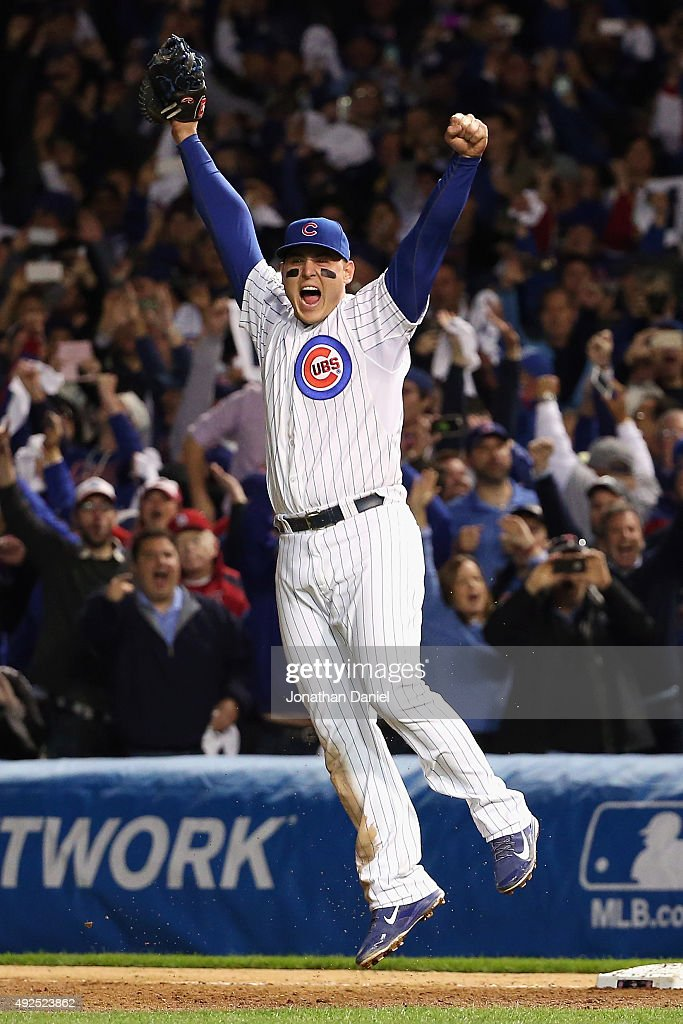 <a gi-track='captionPersonalityLinkClicked' href=/galleries/search?phrase=Anthony+Rizzo&family=editorial&specificpeople=7551494 ng-click='$event.stopPropagation()'>Anthony Rizzo</a> #44 of the Chicago Cubs celebrates defeating the St. Louis Cardinals 6-4 in game four of the National League Division Series at Wrigley Field on October 13, 2015 in Chicago, Illinois.
