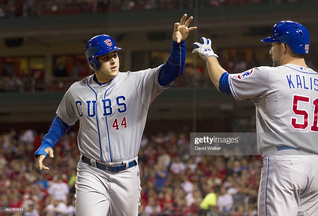 <a gi-track='captionPersonalityLinkClicked' href=/galleries/search?phrase=Anthony+Rizzo&family=editorial&specificpeople=7551494 ng-click='$event.stopPropagation()'>Anthony Rizzo</a> #44 of the Chicago Cubs celebrates with Ryan Kalish #51 after scoring the tying run in the seventh inning during a game against the St. Louis Cardinals at Busch Stadium on April 11, 2014 in St. Louis, Missouri.