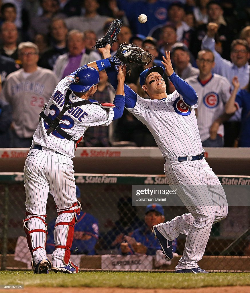 <a gi-track='captionPersonalityLinkClicked' href=/galleries/search?phrase=Anthony+Rizzo&family=editorial&specificpeople=7551494 ng-click='$event.stopPropagation()'>Anthony Rizzo</a> #44 of the Chicago Cubs (R) collides with <a gi-track='captionPersonalityLinkClicked' href=/galleries/search?phrase=Eli+Whiteside&family=editorial&specificpeople=836374 ng-click='$event.stopPropagation()'>Eli Whiteside</a> #32 as they try to catch a foul ball in the 9th inning against the New York Mets at Wrigley Field on June 5, 2014 in Chicago, Illinois. The Cubs defeated the Mets 7-4.