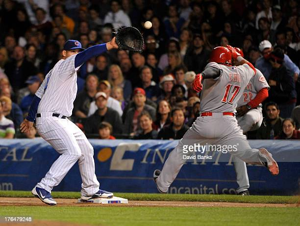 Anthony Rizzo of the Chicago Cubs forces out ShinSoo Choo of the Cincinnati Reds during the sixth inning on August 13 2013 at Wrigley Field in...