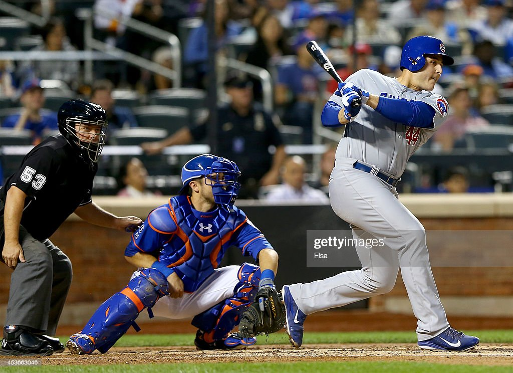 <a gi-track='captionPersonalityLinkClicked' href=/galleries/search?phrase=Anthony+Rizzo&family=editorial&specificpeople=7551494 ng-click='$event.stopPropagation()'>Anthony Rizzo</a> #44 of the Chicago Cubs grounds out as Travis d'Arnaud #15 of the New York Mets defends on August 15, 2014 at Citi Field in the Flushing neighborhood of the Queens borough of New York City.Travis Wood scored a run on the play.