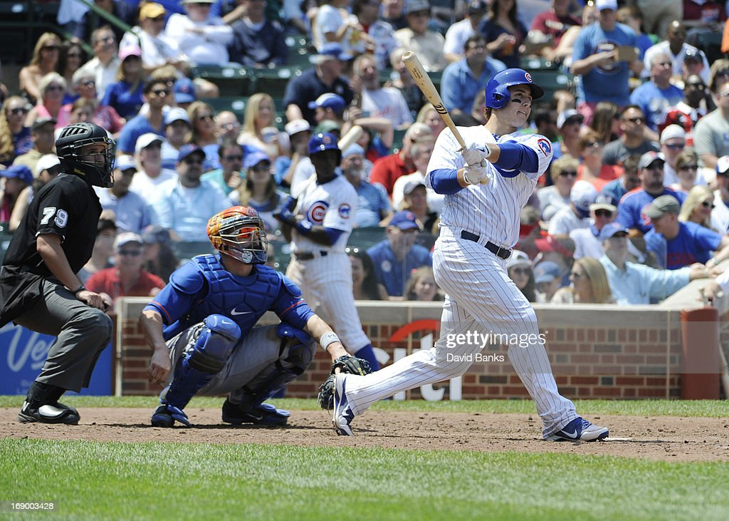 <a gi-track='captionPersonalityLinkClicked' href=/galleries/search?phrase=Anthony+Rizzo&family=editorial&specificpeople=7551494 ng-click='$event.stopPropagation()'>Anthony Rizzo</a> #44 of the Chicago Cubs hits a home run against the New York Mets during the fifth inning on May 18, 2013 at Wrigley Field in Chicago, Illinois.