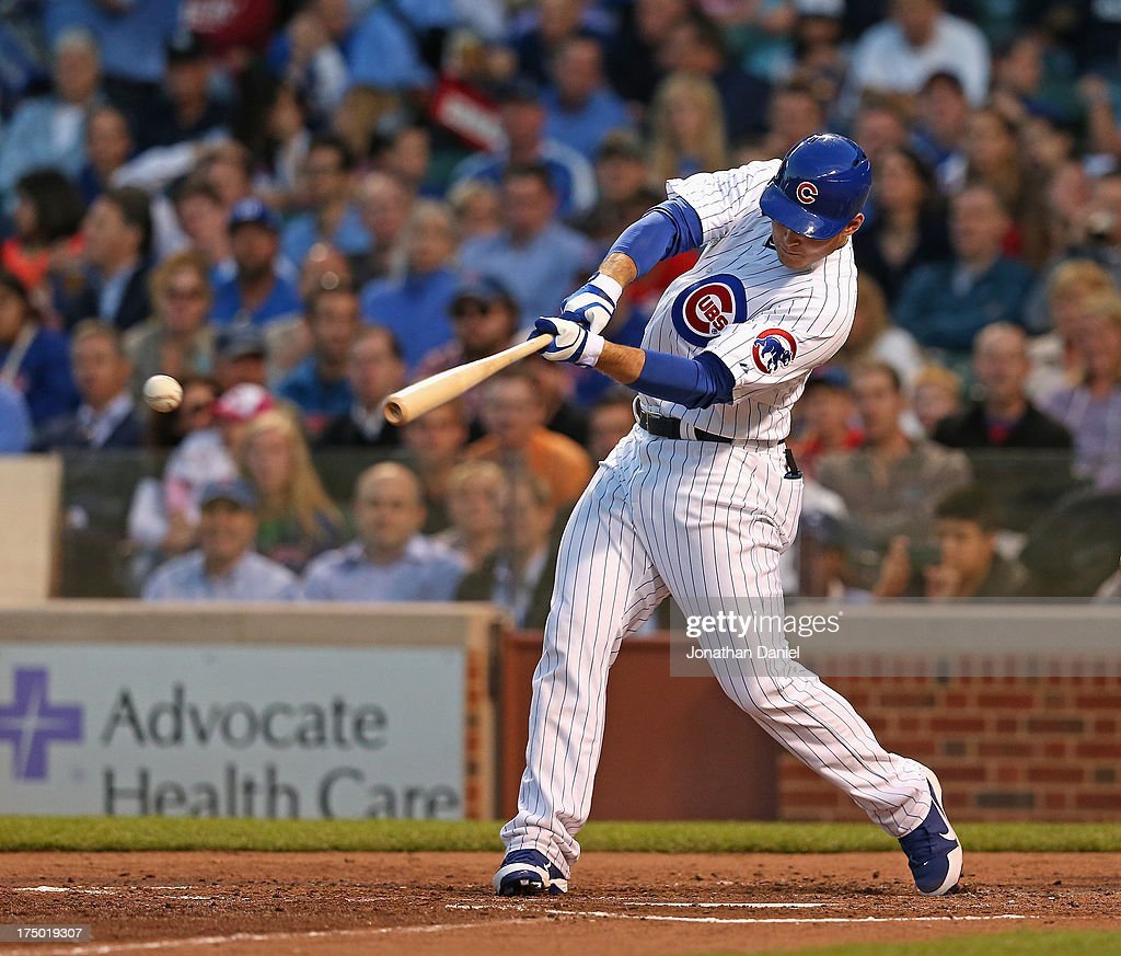 <a gi-track='captionPersonalityLinkClicked' href=/galleries/search?phrase=Anthony+Rizzo&family=editorial&specificpeople=7551494 ng-click='$event.stopPropagation()'>Anthony Rizzo</a> #44 of the Chicago Cubs hits a single in the 3rd inning against the Milwaukee Brewers at Wrigley Field on July 29, 2013 in Chicago, Illinois.