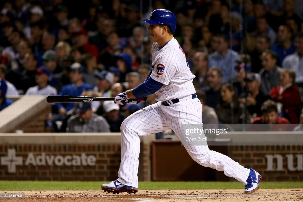 Anthony Rizzo #44 of the Chicago Cubs hits a single in the third inning against the Milwaukee Brewers at Wrigley Field on September 8, 2017 in Chicago, Illinois.