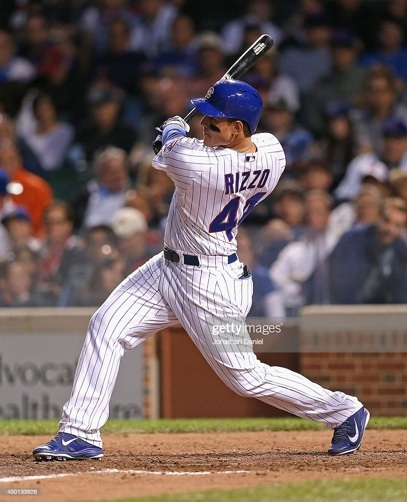 <a gi-track='captionPersonalityLinkClicked' href=/galleries/search?phrase=Anthony+Rizzo&family=editorial&specificpeople=7551494 ng-click='$event.stopPropagation()'>Anthony Rizzo</a> #44 of the Chicago Cubs hits a solo home run, his 11th of the season, in the 7th inning against the New York Mets at Wrigley Field on June 5, 2014 in Chicago, Illinois.
