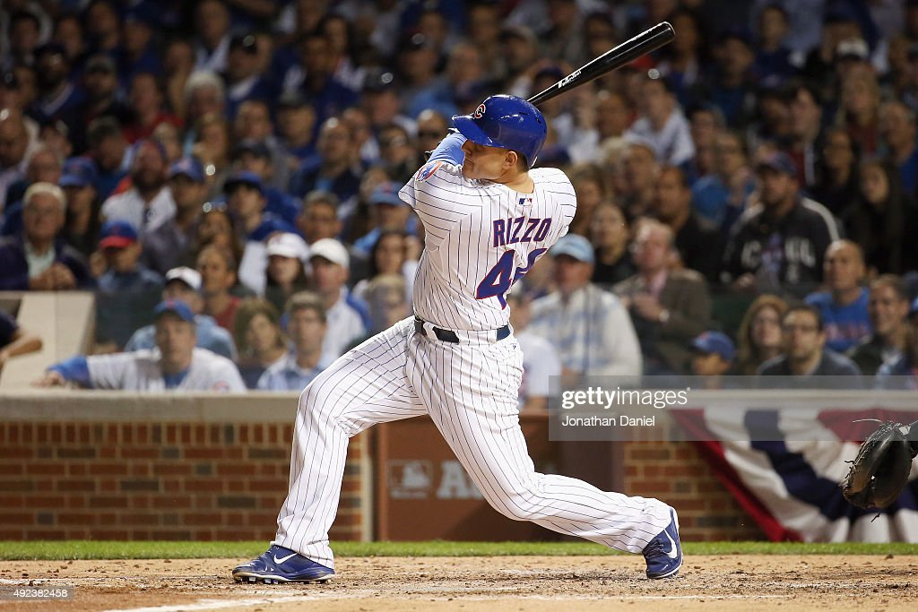 <a gi-track='captionPersonalityLinkClicked' href=/galleries/search?phrase=Anthony+Rizzo&family=editorial&specificpeople=7551494 ng-click='$event.stopPropagation()'>Anthony Rizzo</a> #44 of the Chicago Cubs hits a solo home run in the fifth inning against the St. Louis Cardinals during game three of the National League Division Series at Wrigley Field on October 12, 2015 in Chicago, Illinois.
