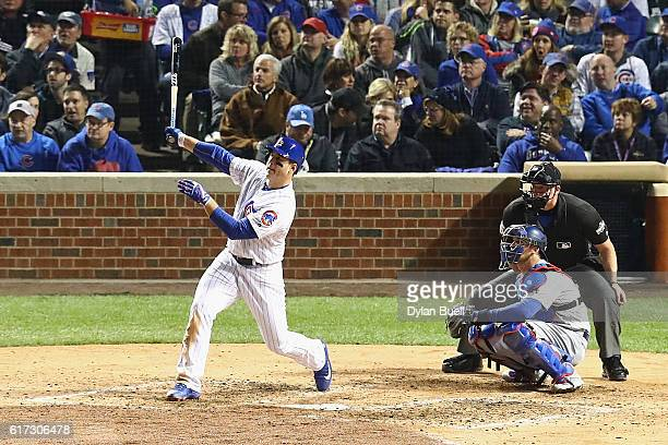 Anthony Rizzo of the Chicago Cubs hits a solo home run in the fifth inning against the Los Angeles Dodgers during game six of the National League...