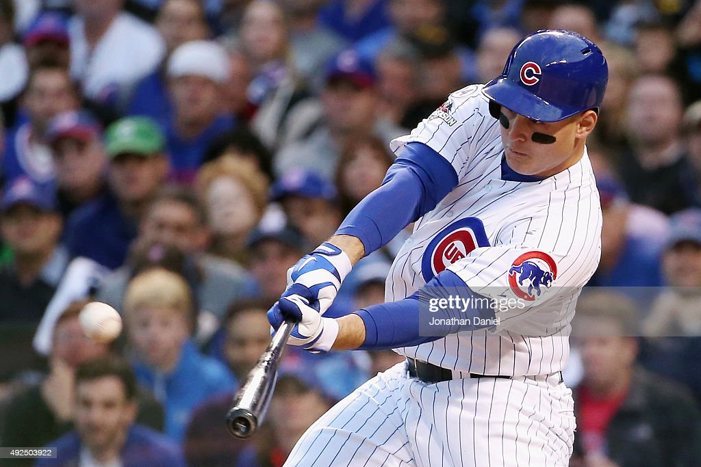 <a gi-track='captionPersonalityLinkClicked' href=/galleries/search?phrase=Anthony+Rizzo&family=editorial&specificpeople=7551494 ng-click='$event.stopPropagation()'>Anthony Rizzo</a> #44 of the Chicago Cubs hits a solo home run in the sixth inning against the St. Louis Cardinals during game four of the National League Division Series at Wrigley Field on October 13, 2015 in Chicago, Illinois.