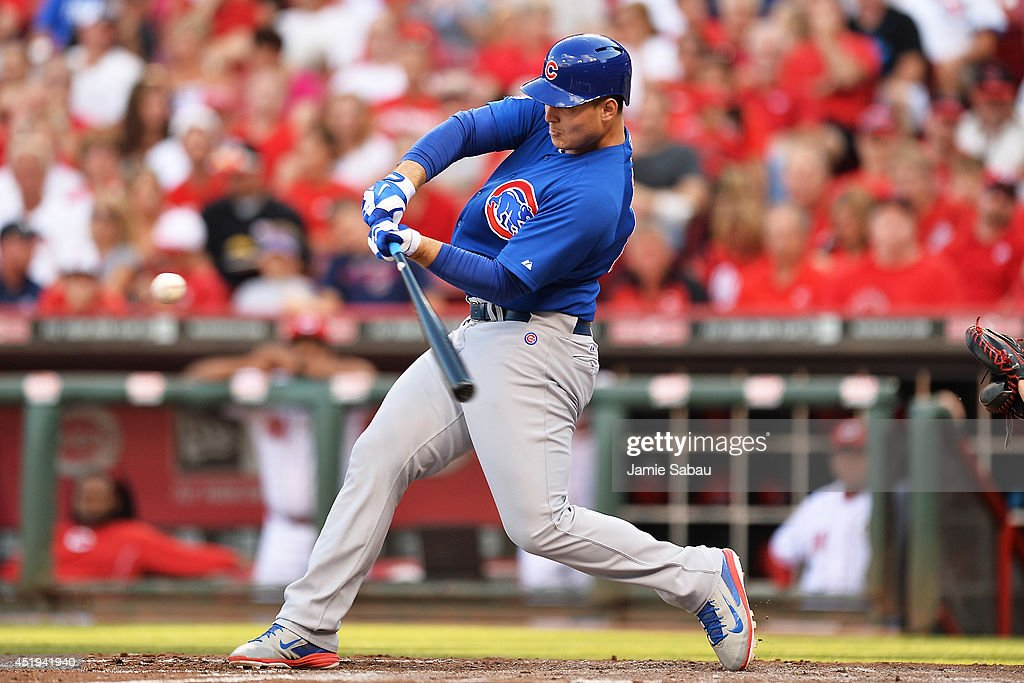 <a gi-track='captionPersonalityLinkClicked' href=/galleries/search?phrase=Anthony+Rizzo&family=editorial&specificpeople=7551494 ng-click='$event.stopPropagation()'>Anthony Rizzo</a> #44 of the Chicago Cubs hits a solo home run in the third inning against the Cincinnati Reds at Great American Ball Park on July 9, 2014 in Cincinnati, Ohio.