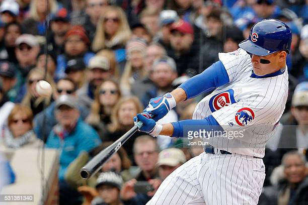 Anthony Rizzo of the Chicago Cubs hits a three run home run against the Pittsburgh Pirates during the fourth inning at Wrigley Field on May 14 2016...