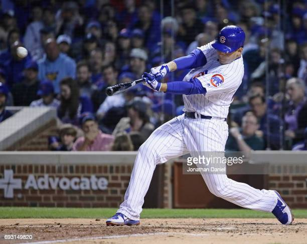 Anthony Rizzo of the Chicago Cubs hits a three run home run in the 5th inning against the Miami Marlins at Wrigley Field on June 6 2017 in Chicago...