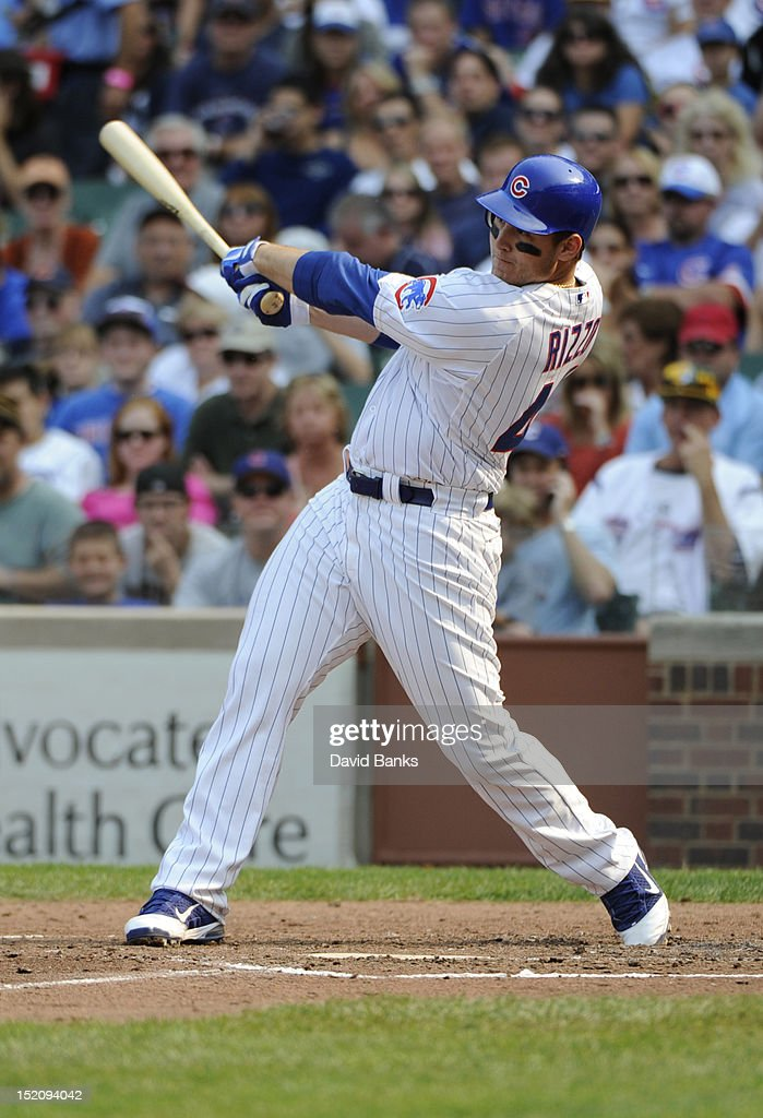 <a gi-track='captionPersonalityLinkClicked' href=/galleries/search?phrase=Anthony+Rizzo&family=editorial&specificpeople=7551494 ng-click='$event.stopPropagation()'>Anthony Rizzo</a> #44 of the Chicago Cubs hits a two-run homer in the fifth inning against the Pittsburgh Pirates on September 16, 2012 at Wrigley Field in Chicago, Illinois.