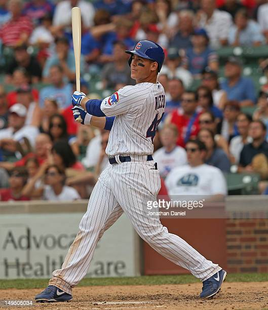 Anthony Rizzo of the Chicago Cubs hits a tworun walkoff home run in the 10th inning against the St Louis Cardinals at Wrigley Field on July 29 2012...